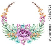 wreath with watercolor violet... | Shutterstock . vector #429867526