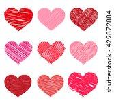 Set of Valentine hearts, vector illustration, hand drawn style. Symbolic I love you.