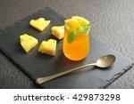 homemade pineapple jam on slate ...   Shutterstock . vector #429873298