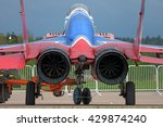 Small photo of MOSCOW REGION, RUSSIA - MAY 21, 2016: Russian Air Force MiG-29 Fulcrum fighter aircraft of Swifts aerobatic team towing out, rear close up view of jet engine afterburner exhaust interior