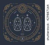 vintage thin line gemini zodiac ... | Shutterstock .eps vector #429887164