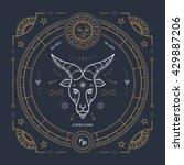 vintage thin line capricorn... | Shutterstock .eps vector #429887206