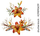 watercolor tiger lily bouquet... | Shutterstock . vector #429890659