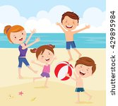 happy family playing beach ball.... | Shutterstock .eps vector #429895984