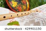 wooden flute against a... | Shutterstock . vector #429901150