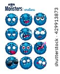 Set Of Cute Furry Monsters With ...