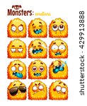 Set Of Cute Furry Monsters Wit...