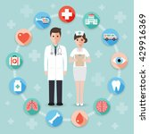 doctor and nurse with medical... | Shutterstock .eps vector #429916369