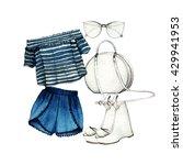 watercolor fashion illustration.... | Shutterstock . vector #429941953