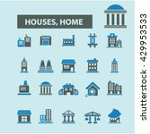 houses  home icons  | Shutterstock .eps vector #429953533
