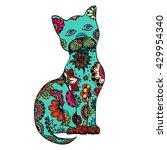 Cute Doodle Cat. Vector Hand...