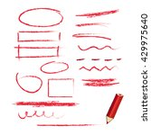 red pencil with hand drawn... | Shutterstock .eps vector #429975640