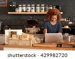 building her cafe's online brand | Shutterstock . vector #429982720
