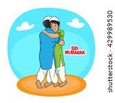 young muslim men hugging each... | Shutterstock .eps vector #429989530
