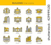 building line icon set with... | Shutterstock .eps vector #429999130