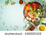fresh salad on blue background  ... | Shutterstock . vector #430005103