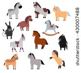 smiling cartoon horses on white ... | Shutterstock .eps vector #430007488