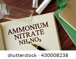 Small photo of Word ammonium nitrate written on a page. Chemistry concept.