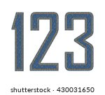 denim fabric stitched letters.... | Shutterstock .eps vector #430031650