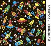 cartoon spaceship icons. kid's... | Shutterstock .eps vector #430035808