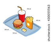fast food set. calorie dishes.... | Shutterstock .eps vector #430055563