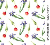Watercolor Tulips And Irises O...