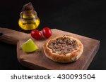 arabic meat sfiha over a wooden ... | Shutterstock . vector #430093504