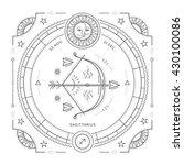 vintage thin line sagittarius...   Shutterstock .eps vector #430100086