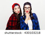 fun girl stick tongue out... | Shutterstock . vector #430103218