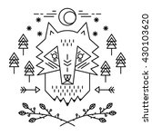 ethnic hand drawn head of wolf... | Shutterstock .eps vector #430103620