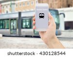 man hand holding the phone... | Shutterstock . vector #430128544