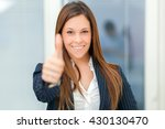 happy businesswoman giving... | Shutterstock . vector #430130470