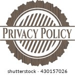 privacy policy wood emblem....   Shutterstock .eps vector #430157026