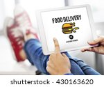 food delivery fast food... | Shutterstock . vector #430163620