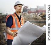 construction worker planning... | Shutterstock . vector #430174228
