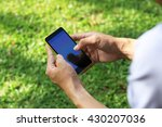 hand holding smartphone with... | Shutterstock . vector #430207036