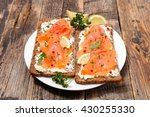 toast with cheese and smoked... | Shutterstock . vector #430255330