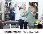 nurse instructing senior... | Shutterstock . vector #430267768