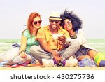 multiracial friends having fun... | Shutterstock . vector #430275736