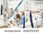 group of girls on a yacht... | Shutterstock . vector #430292539