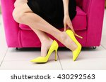 woman in stylish shoes on pink... | Shutterstock . vector #430292563
