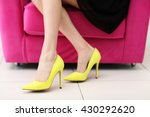 woman in stylish shoes on pink... | Shutterstock . vector #430292620