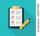 the checklist in a folder with... | Shutterstock .eps vector #430297504
