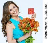 Beautiful Girl Holding Flowers...