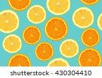 lemon and orange sliced pattern ... | Shutterstock . vector #430304410