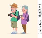 elderly couple  travel together ... | Shutterstock .eps vector #430305694