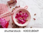 rose water and rose petals | Shutterstock . vector #430318069