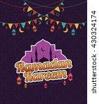 ramadan kareem emblem with dark ... | Shutterstock .eps vector #430324174