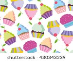 cupcake vector pattern. happy... | Shutterstock .eps vector #430343239