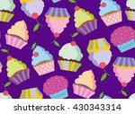 cupcake vector pattern. happy... | Shutterstock .eps vector #430343314